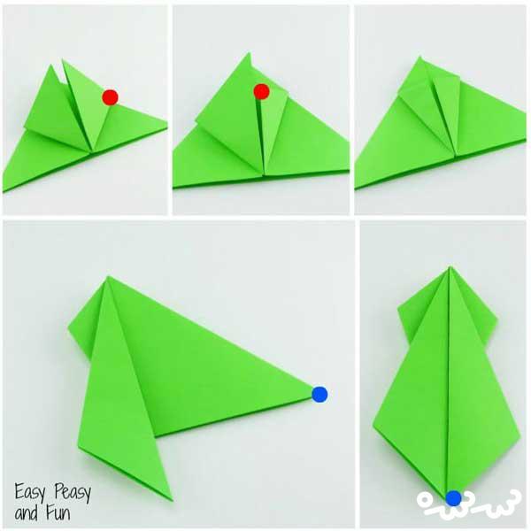 آموزش ساخت اوریگامی قورباغه جهنده