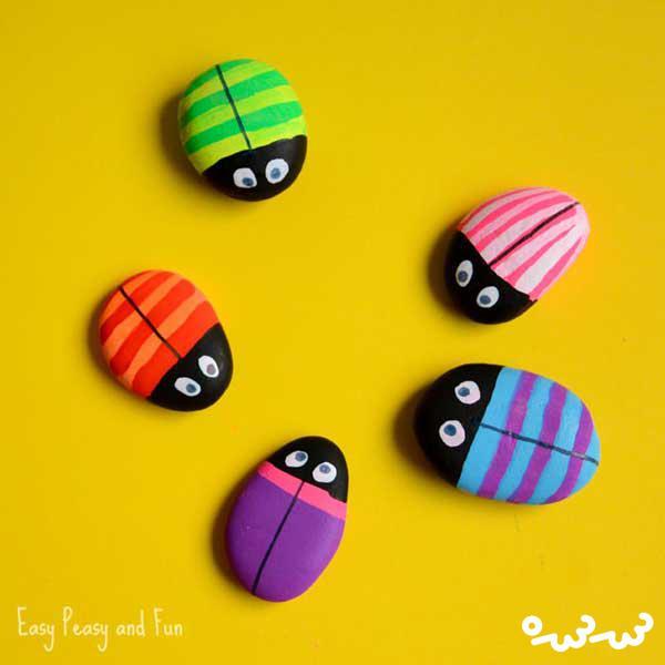 ساخت حشرات سنگی رنگارنگ
