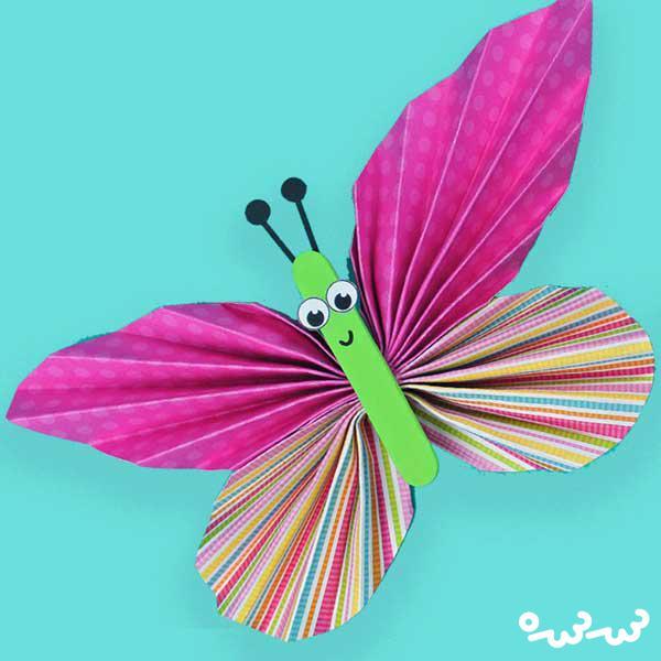 ساخت پروانه های رنگارنگ کاغذی