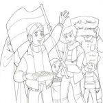 نقاشی کودک با موضوع ۲۲ بهمن و دهه فجر