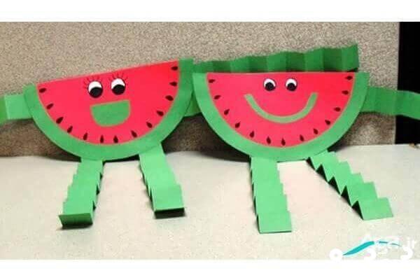 چگونه هندوانه کاغذی بسازیم ؛ کاردستی شب یلدا