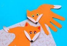 کاردستی روباه با شکل کف دست