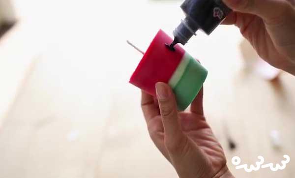ساخت شمع به شکل هندوانه برای شب یلدا