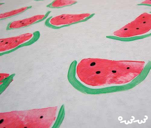 ساخت کاغذ کادو با طرح هندوانه شب چله