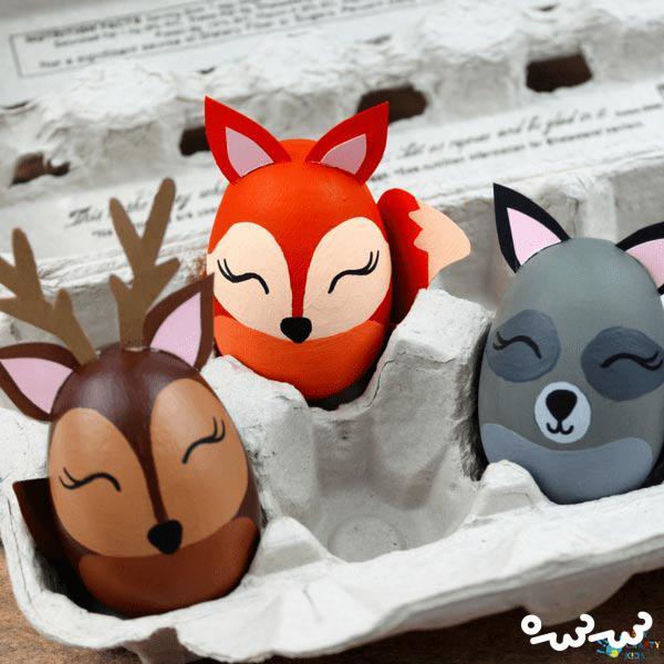 تزئین تخم مرغ به شکل حیوانات جنگل