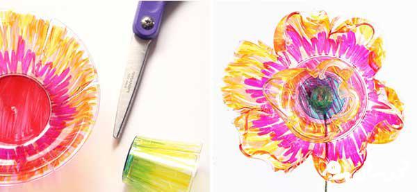 کاردستی گل های رنگی با وسایل بازیافتی
